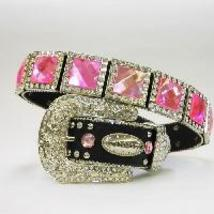New S M L Or X  Black Square Pink  Prism Concho Buckle Western Cowboy Girl Belt - $74.99