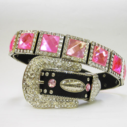 NEW S M L or x  BLACK SQUARE PINK  PRISM CONCHO BUCKLE WESTERN COWBOY GIRL BELT