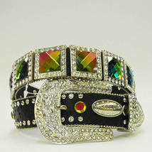 New S M L Or X Black Square Rainbow Prism Concho Buckle Western Cowboy Girl Belt - $74.99