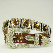 New S M L Or X  Brown Square Brown  Prism Concho Buckle Western Cowboy Girl Belt - $74.99
