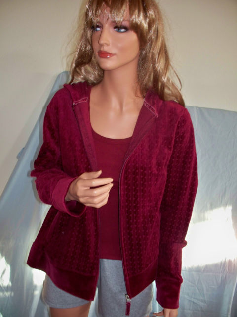 NWT S 4 6 VELOUR CABLE KNIT MARRON BURGUNDY  WINE ZIPPER HOODIE & TBACK TANK TOP