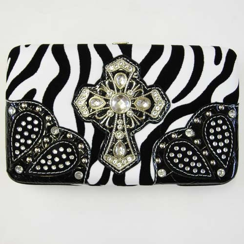 NWT ZEBRA BLACK  & CROSS RHINESTONE  WOMEN WALLET PURSE CLUTCH BAG CARD CASE NEW