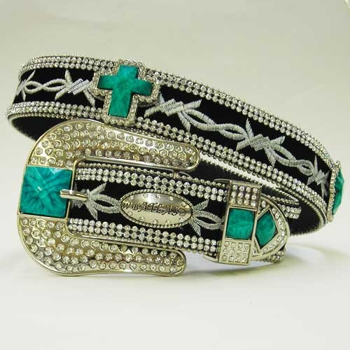 S M L X  BLACK  EMBROIDERY TURQUOISE STONE CROSS BUCKLE WESTERN COWBOY GIRL BELT