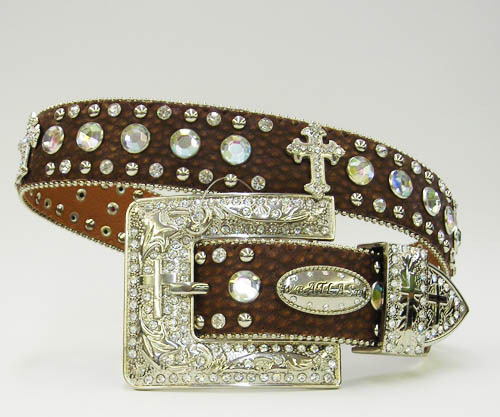 S M L XL BROWN DISTRESS FRENCH CROSS RHINESTONE WESTERN BUCKLE COWBOY GIRL BELT