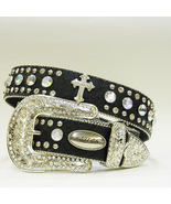 S M L XL Black Ostrich  FRENCH CROSS RHINESTONE WESTERN BUCKLE COWBOY G... - $69.99
