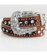 S M L or XL HAIR HIDE DARK BROWN LEATHER PATCHS RHINESTONE COWGIRL WESTE... - $66.99