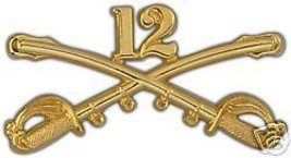 ARMY 12TH CAVALRY GOLD LAPEL HAT PIN - $13.53