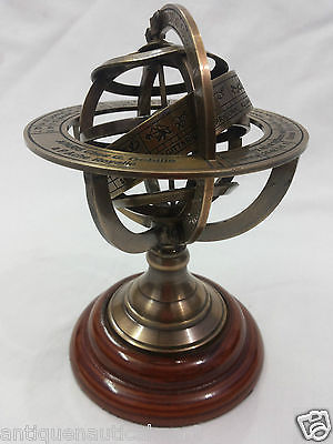 Antique Brass Armillary Globe Vintage Collectible Decorative 5