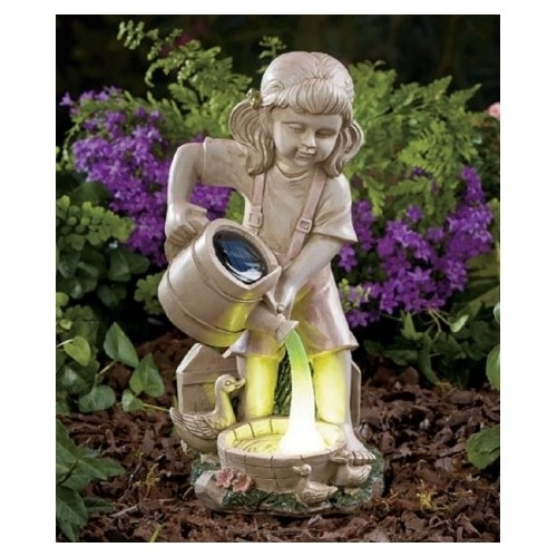 Solar lighted girl watering statue 1