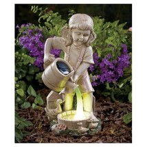 Solar lighted girl watering statue 1 thumb200