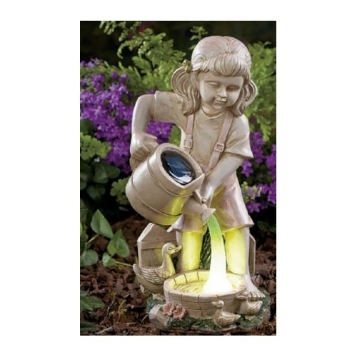Solar Lighted Watering Can Fairy Child Girl Garden Statue Yard Patio Decoration