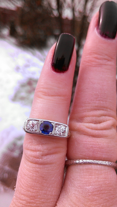 14k Gold Diamond Blue Sapphire Wedding Ring and similar items