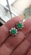 14k Gold Diamond Emerald Stud Earrings with Jackets Real Vintage OOAK - $999.00