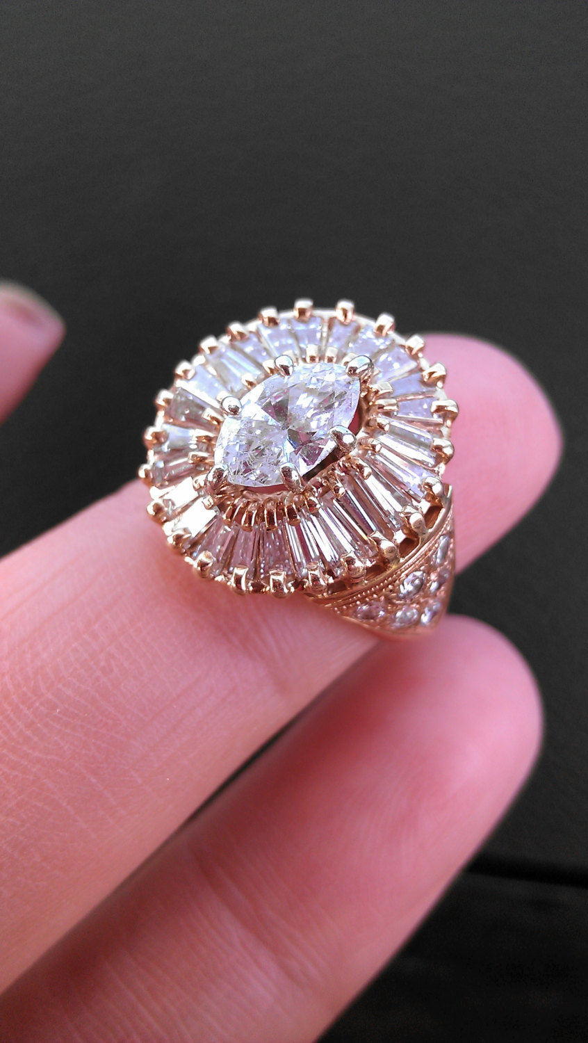 14k Gold 2ct Marquise Baguette Diamond and 50 similar items