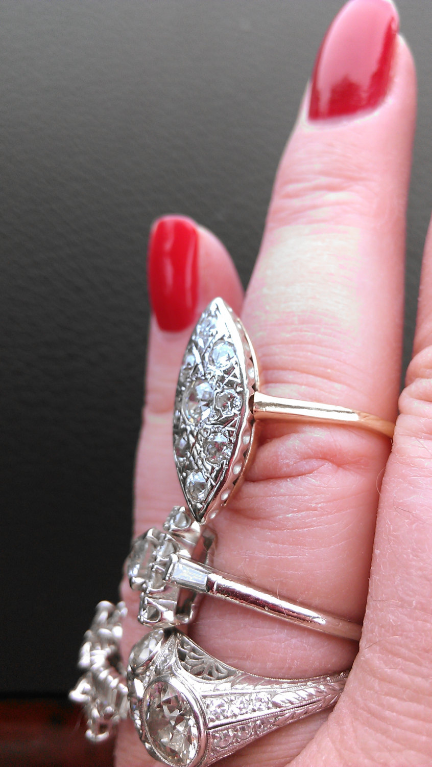 Antique 14K Gold Diamond North South Ring and 16 similar items