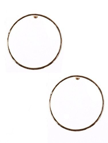 Large Circle Hammered Metal Earrings (Goldtone 2)
