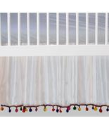 White Chiffon Pom Pom Ruffled Crib Skirt / Mini Crib Skirt - $39.99+