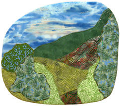 Mountainside: Quilted Art Wall Hanging - $325.00