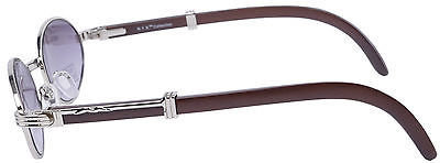 e6c51631ddc5 OVAL WOOD BUFFS SUNGLASSES GLASSES SILVER METAL FRAME WOOD HAND CRAFTED  CARTIE