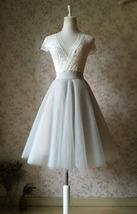 Grey Knee Length Midi Tulle Skirt Gray Full Circle Tulle Skirt Any Size image 3