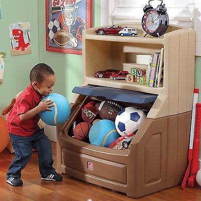 Storage Toy Chest Step2 Bookcase Lift & Hide Kids Play Room Bedroom Furniture