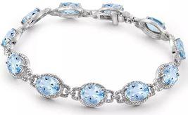 Diamond Gemstone Wrist Sterling Silver Love Gift Fiancee Engagement Brac... - $1,125.49 CAD