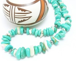 Howlite Turquoise White Sterling Nugget Beaded Necklace 20 inch - $22.00