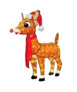 "32"" SANTA RUDOLPH WEARING RED SCARF PRE LIT 3D TINSEL CHRISTMAS YARD SCU... - $148.49"