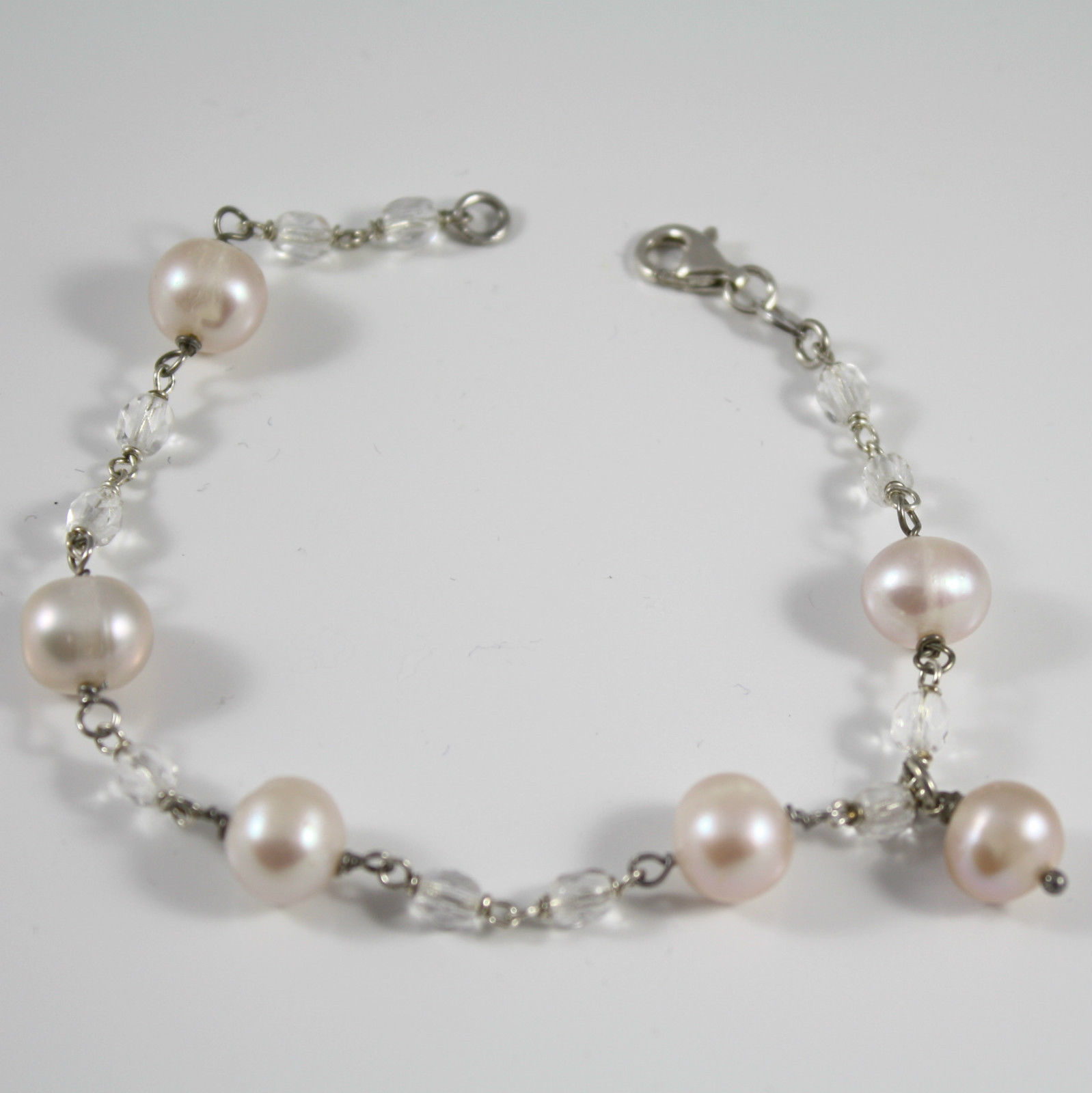 Bracelet in Sterling Silver 925 Rhodium Round Pink Pearls and Transparent Cry...