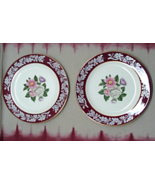 Two Homer Laughlin China Plates // Red Trim // Floral Center // Replacem... - $10.00