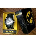 Mens DC Comics Batman Super Hero Logo Black Silver Silcone Sport Wrist W... - $21.75