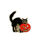 Vintage Jewelry Brooch Pin Halloween Black Cat & Jack-o-Lantern Enamel - $13.99