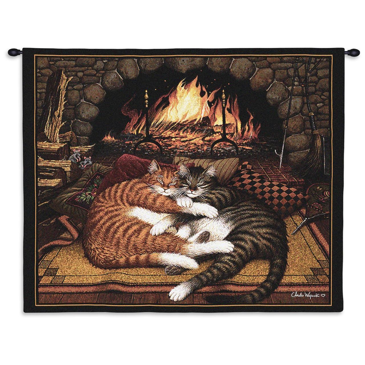 34x26 All Burned Out CATS Kitty Sleeping by Fireplace Tapestry Wall Hanging  - $60.00