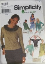 Simplicity 9815 6 made easy Women's tops Size PP(12-14-16-18) - $14.70
