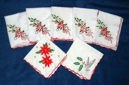 Set Lot 7 Christmas Holiday Embroidered Napkins Scalloped Poinsettias - $18.18