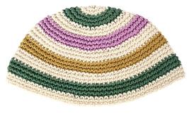 Handmade Frik Kippah Yarmulke Yamaka Crochet Colorful Striped Israel 21 cm