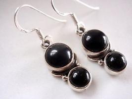 Black Onyx Dbl Sphere 925 Silver Dangle Earrings New - $12.86