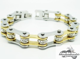 Lady's Gold and Chrome & Crystal Stainless Steel Motorcycle Chain Bracelet - $15.95