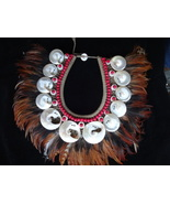 White Shell Necklace With Beads And Brown Feather Adornment Women Fashion Papua - $166.33