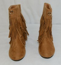 Styluxe Scream Tan Suede Girls 10 Fringe Boots With Chain Plus 3 Charms image 2
