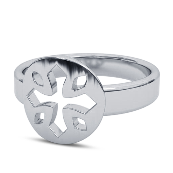Primary image for Engagement Men's Biker Cross Ring In Pure 925 Silver 14k White Gold Finish