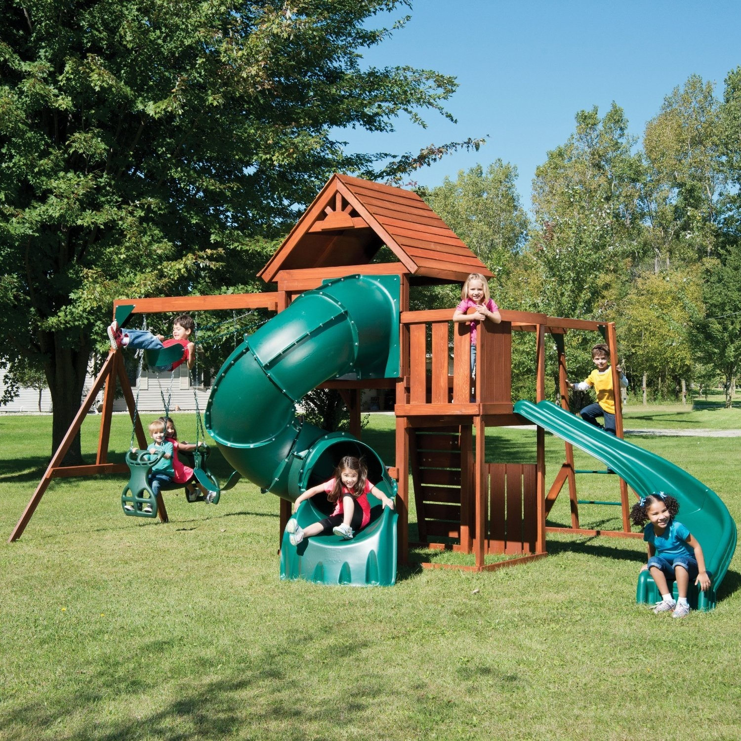 playground sets equipment backyard slides swing wood playset outdoor