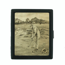 Vintage Golf Themed D15 Small Black Cigarette Case Smoking Card Money Ho... - $8.86