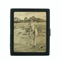 Vintage Golf Themed D15 Small Black Cigarette Case Smoking Card Money Holder - $8.86