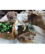Lot of 4 Halloween Ceramic House Ghost Caravan Tree Stump Windmill Cotta... - $19.30
