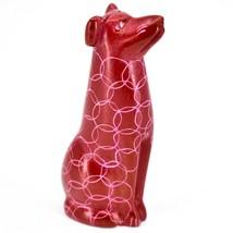 Tabaka Chigware Hand Carved Kisii Soapstone Sitting Red Puppy Dog Figurine Kenya