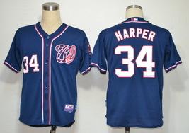 Washington Nationals Men's #34 Bryce Harper Jersey New Blue Baseball Sti... - $39.98