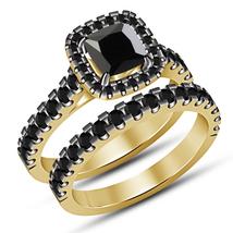 Cushion Cut Black Diamond Engagement Wedding Ring Set Yellow Gold Fn 925... - $89.99