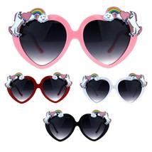 Womens Unicorn Rainbow Heart Funk Valentine Plastic Heart Sunglasses - $9.95