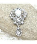 Clear Rhinestone Crystal Vintage Mini Dangle Wedding Brooch Pin - $7.69